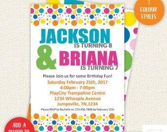 Twin Birthday Invitations, twin invitations, twin party, double birthday invitation, shared invitation, sibling invitation, printables