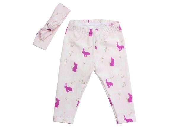 Bunny Easter Baby Leggings Bunnies Pink Purple Toddler Leggings Top Knot Headband Girly Leggings Bunny Rabbits Baby Pants Gift First Easter