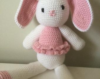 Bunny, crochet bunnies, ballerina bunny, grey bunny, soft toys, boys, girls, babies, baby shower, Easter bunny, baby gift, Made to Order,