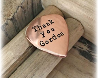 Copper, Hand Stamped, Personalised, Plectrum, Guitar Pick, Personalized, Personalised Plectrum, Gifts for Guitarists, Gifts for Boyfriend