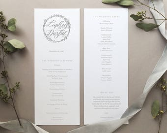 DIGITAL FILE- the Lindsey Wedding Program