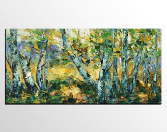 Large Art, Abstract Painting, Oil Painting, Canvas Art, Spring Tree, Landscape Painting, Abstract Art, Modern Art, Living Room Wall Art