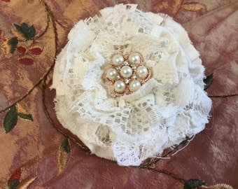"Shabby fabric and lace flower, with lace 3 3/4"" approx."