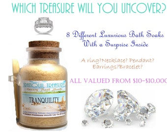 Tranquil Treasures Bath Salt Soak W/ Solid Sterling Silver Gemstone Jewelry Fragrant Aroma Jewels
