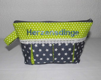 Heart things makeup bag cosmetic bag with pleats