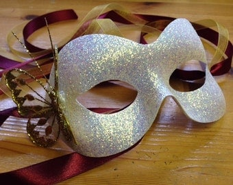 White Glitter Mask Christmas Masquerade Ball Burgundy Gold Butterfly
