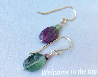 Oval Tourmaline Earrings - Gold Filled Earrings, October birthstone, Watermelon tourmaline earrings, natural gemstone earrings