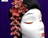 Horquilla kanzashi shidare flores japonesas con pétalos colgantes