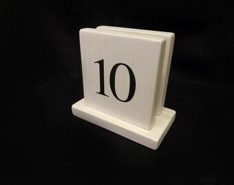 Whitewashed Wooden Menu Holders & Table Numbers
