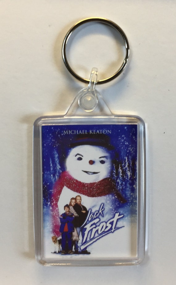 Christmas Movies Jack Frost Michael Keaton Kelly Preston Keyring Keychain available in Blue Red White or Clear connectors
