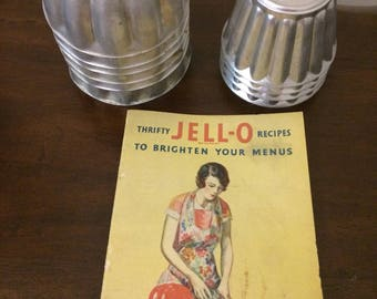 Vintage Aluminum Jello Molds with 1931 Cookbook