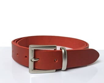 "Red Belt - 1"" 1/4 - Handmade In UK - Silver Buckle - Red Dress Belt - Red Leather Belt - Red Men Belt - Red Women belt"