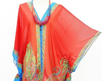 Kaftan Kimono Beach Cover up Bikini Red Blouse Butterfly sleeves Tunic Gift Top Maternity Swimwear Plus size see through colorful Summer