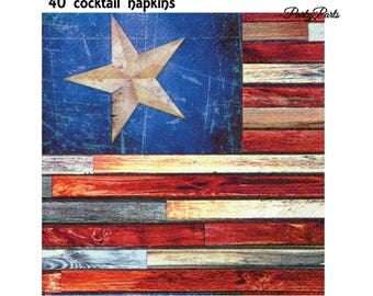 American Flag cocktail Napkins, 5 inch, Rustic 4th of July Decorations, 40 CT, Patriotic, Stars and Stripes, July Fourth, Independence Day
