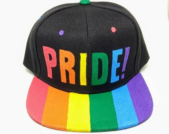 Pride Gay LGBTQA+ Queer Rainbow Flag Snapback Hat