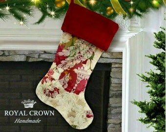 Floral christmas stocking,red damask christmas stocking,floral christmas stockings,best selling items,top selling items,red floral stocking