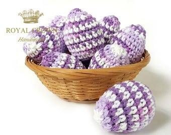 Easter Eggs,Easter Egg Decor,Crochet Easter Eggs,Stuffed Easter Eggs,Easter Egg Toys,Easter Egg Ornaments,Spring Decoration,Purple White