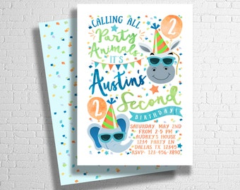 Party Animal Invitation | Zoo Birthday Invitation | Party Animal Birthday Invite | Calling all party animals | ANY AGE - DIGITAL only