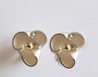 """Earrings silver pistil """"Inès"""" gold"""