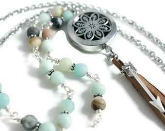 Leather tassel necklace Bohemian jewelry Beaded boho necklace amazonite bead necklace Long boho beaded Diffuser Necklace