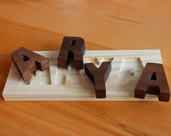 Wooden Name Puzzle Toy, Wood Puzzle Toy, All Natural Toy, Personalized Wood Toy for Child, Alphabet Letters