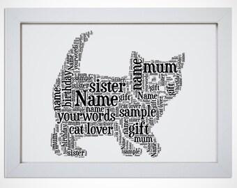 Personalised Cat Kitten Framed Word Art Picture Print Gift Black Ginger Grey Tabby