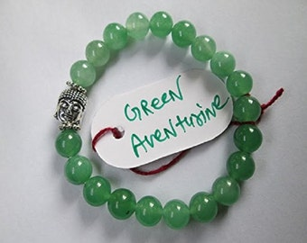WholesaleGemShop - Green Aventurine 8 mm Bead Buddha Bracelet with Free Shipping