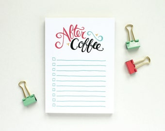 Funny Notepad Stocking Stuffer - To-Do List, After Coffee, Check Boxes, Hand-lettered, Stocking Stuffer
