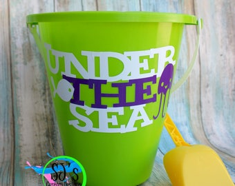 Beach pail, Pail and shovel, Beach toys, Beach bucket, Beach pail decal, Summer toys, Summer toy, Kids summer toy, sand toy, Kids sand toy