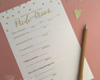 Rose gold, gold, silver, mint, pink, teal foiled 'advice for the bride and groom' notes (Pk-20)