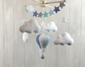 Baby mobile - hot air balloon mobile / cloud mobile - star mobile - sky mobile - travel nursery theme - baby crib mobiles