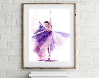 Art Print of Ballerina in Purple, Watercolor painting print, ballet art, ballerina painting, wall art, dance home decor