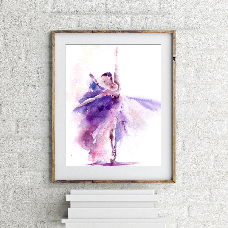art print of ballerina in purple watercolor painting print