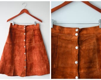 Suede button down skirt | Size 28