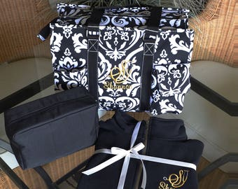 """Black Damask Gift Set-Nurse Tote/Pullover-16"""" Black Damask Tote-1/4 Zip Pullover- Acc. bag-Monogrammed-PRIORITY 2/3 DAY  SHIPPING!!"""