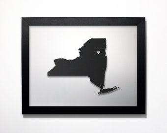 New York Map / Laser Cut Map / New York State Art / New York Art / Framed State Map / New York Gift / Wedding Gift / Anniversary Gift