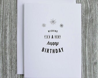 Wishing You A Very Happy Birthday - Vintage Logo Design - Letterpress Blank Greeting Card on 100% Cotton Paper