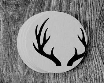 Antlers Silhouette - Letterpress Hand Printed Round Coaster - Set of 10 Coasters