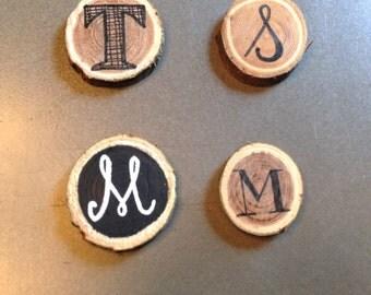 Initial wooden refridgerator magnets