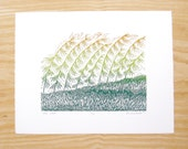 "Woodblock Print ""Over Here"" Blendroll Sideoats Grama Plant Print"