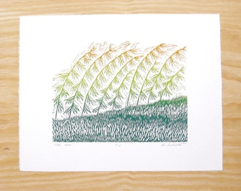 """Woodblock Print """"Over Here"""" Blendroll Sideoats Grama Plant Print"""