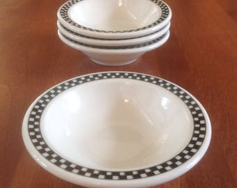 Four (4) Homer Laughlin CHECKERS Black American Diner Small Fruit / Dessert / Side Dish / Prep Bowls Restaurant Ware