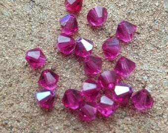 Swarovski 4mm Bicone Faceted Crystal Beads - FUSCHIA AB - Select 10, 20, 50 or 100