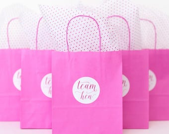 Hen Party Gift Bags - Hen Do Bags - Hen Party Favors - Hen Party Gift - Paper Party Bags - Hen Do Favours  Pink Gift Bags