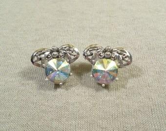 JUDY LEE Vintage Silver Tone Ab Rhinestone Clip On Earrings Signed Judy Lee DL# 2941