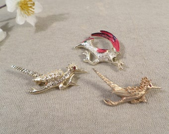 GERRYS! Beautiful Vintage Lot Of 3 Roadrunner Brooches, 2 Signed Gerrys  DL#2156