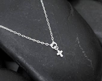 Tiny Cross Necklace + Silver Cross Necklace + Tiny Necklace + CZ Necklace + Bridesmaid Gift + Baptism Gift + Confirmation Gift + M3