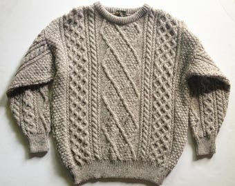 Vintage Fisherman Sweater Natural Marled Yarn UK