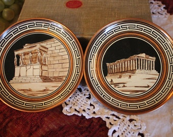 "Set of 2 Hand Made Souvenir 5"" Copper Plates Made in Greece - The Parthenon and Acropolis"