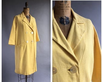 1960's Double Breasted Sunshine Yellow Spring Coat